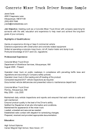 Driver Resumes Concrete Mixer Truck Resume Sample Bus Writing Template