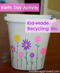 Earth Day Activity Kid Made Recycling Bin