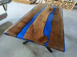 epoxid tisch blaue epoxidharz nussbaum holz dekor fluss esstisch schreibtisch