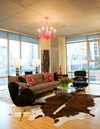 Decorating With Chocolate Brown Couches by Bright Cowhide Rug In Living Room Industrial With Cowhide Rug Next