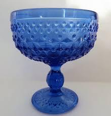 100 Poland Glass Pressed Blue Footed Dish Zabkowice Glass