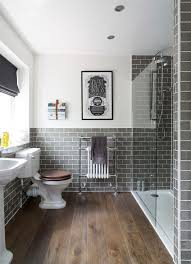 grey and white bathroom traditional subway tile with modern grey