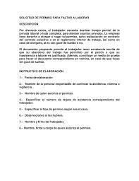 SOLICITUD DE PERMISO PARA FALTAR A LABORAR