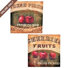 Fresh Picked Cherries Canvas Art Print Set Of 2