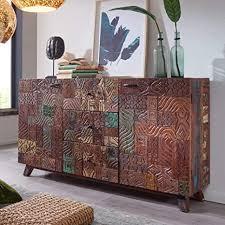 finebuy sideboard carva 160x90x40 cm massivholz vintage