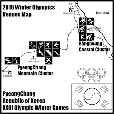 PyeongChang Winter Olympics Venue Map B&W ClipArt