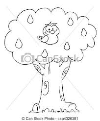 Outlined Partridge In A Pear Tree Vector