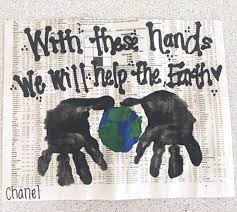 Handprint Earth Day Craft Using Newspaper