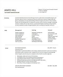 Restaurant Resume Examples Manager Sample Server Experience