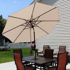 9 Ft Patio Umbrellas With Tilt by Sunnydaze Decor Ecg 205 Beige Solar Powered Lighted Patio Umbrella