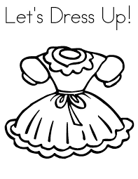 Doll Dress Lets Up Colouring Page