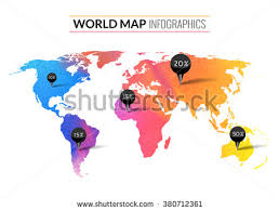 Colorful Vector Watercolor World Map Infographics Wallpaper Atlas Travel Earth