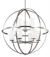 Sea Gull 3124609ble 962 Alturas Brushed Nickel 9 Light Fluorescent With Regard To Stylish House Orb Chandelier Ideas