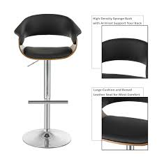 Details About Adjustable Swivel Bar Stools Bentwood Seat Pub Chairs  Hydraulic W/Armrest Black