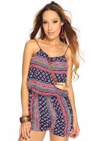womens clothing rompers navy floral print cute summer romper cheap