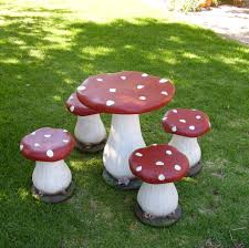 Fairy Toadstool Table And Chair Set.... | Favorite Places ... Red Toadstool Table Masquespacio Designs Adstoolshaped Fniture For Missana Mushroom Kids Stool Uncategorized Chez Moi By Haute Living Propbox Event Props Fniture Hire Dublin How To Make A Bistro Set Garden In Peterborough Swedish Woodland Robins Floral Side Magentarose Toadstools Fairy Garden