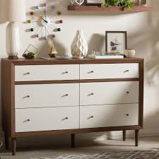 South Shore White Dressers by Baxton Studio Harlow 6 Drawer White And Medium Brown Wood Dresser