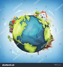 100 House Earth Planet Background Nature Illustration Stock Vector