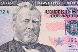 US Fifty Dollar Bill Close Up Portrait Of Ulysses S Grant Stock
