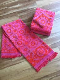 Sunflower Bath Towel Set by Vintage Pink And Orange Geometric Design Bath Towels By Fieldcrest