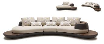Beige & Brown Fabric & Leather Modern Sectional Sofa w Chaise