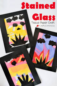 Stained Glass Tissue Paper Sunset Craft