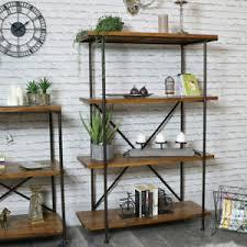 details zu hoch metall holz regal bücherschrank einheit retro industrielle wohnzimmer flur
