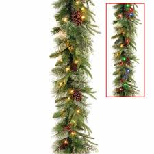 National Tree 9ft Colonial Garland W Dual ColorR LED