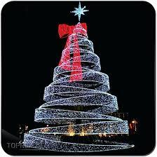 Spiral Christmas Tree Giant Ribbon Lighted Buy Set Of 3