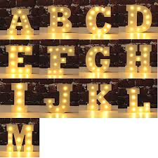 LED Night Light Lamp Kids Marquee Letter Light Vintage Alphabet