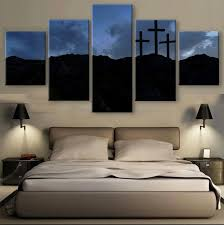 5 Pieces HD Print Canvas Art Christian Three Crosses Paintings On Wall For Home