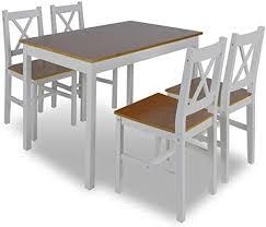 vidaxl essgruppe holztisch esstisch esszimmer esstischset tischset 4 stühle