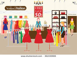 Women Shopping In A Clothing Store With Dummies Show Fashion Clearance Sale