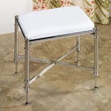 Vanity Chair With Wheels by White Microfiber Bathroom Stool With Chromed Metal Frame Bathroom