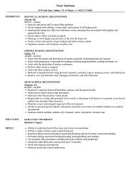 Resume Templates Receptionist Sample