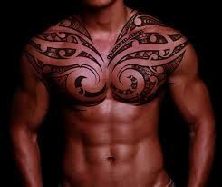 Amazing Polynesian Tribal Tattoo On Chest For Men