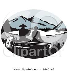 Retro Woodcut Scene Of Silhouetted Hikers Sitting On A Log And Looking Out At Mountainous Lake Or Pond By Patrimonio Clipart Camper Trailer