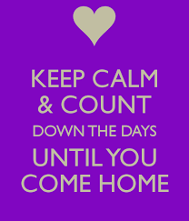 KEEP CALM COUNT DOWN THE DAYS UNTIL YOU COME HOME