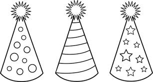 Birthday hat black and white clip art