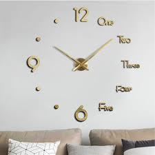 3d rahmenlose wanduhr diy rahmenlos modern uhren wanddekoration für wohnzimmer schlafzimmer büro gold
