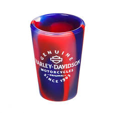 SiliPintTM Unbreakable Silicone Harley Davidson Red And Blue Shot Glass