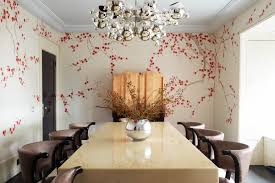 Rafael De Cardenas Chose A Bespoke Gournay Wallpaper For The Dining Room Of This London Residence Which Also Features Maison Charles Bubble Chandelier
