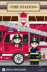 100 Fire Truck Cartoon Cute Man Fighter And Vector