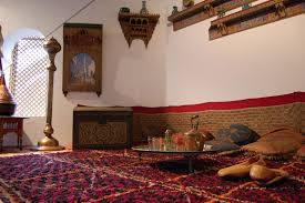 Old Arabian House Interior Arabic Colored Sofa Gold Rest Red Tea Cover Glasses Calm Middle East Phone Wallpapers Detail