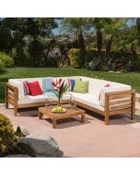 Outdoor Sectional Sofa Set by Spectacular Deal On Oana Outdoor 4 Piece Acacia Wood Sectional