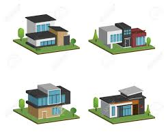 100 Modern Homes Architecture Set Of Isometric Four Houses And Modern Houses Design 3D Modern