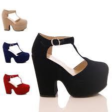 ladies womens demi wedge platform mary jane tbar high heel court