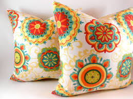 Decorative Outdoor Lumbar Pillows by Pillow Cover Indoor Outdoor Orange Red Yellow Green Teal Any Size