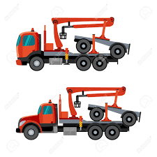 Trucks With Crane Hydraulic Arm Dolly Trailer On The White ...