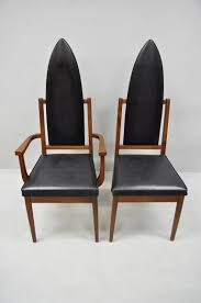 4 Tall Point Back Walnut Mid-Century Modern Dining Chairs After Adrian  Pearsall